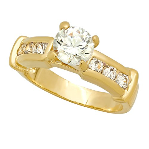 Channel Set Czs Ring (Gold Plated Round CZ Solitaire Ring w/Channel Set Round CZs, Size 4 + Microfiber Jewelry Polishing Cloth)