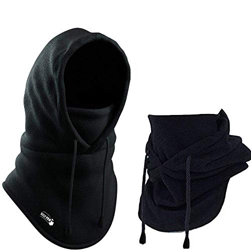 Self Pro Balaclava Fleece Hood - Windproof Face Ski Mask - Ultimate Thermal Retention & Moisture Wicking with Performance Soft Fleece Construction, Black, One Size