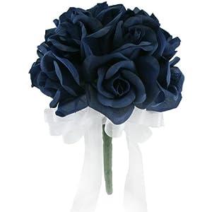 Navy Silk Rose Toss Bouquet (12 roses) - Silk Flower Bridal Wedding Bouquet 20