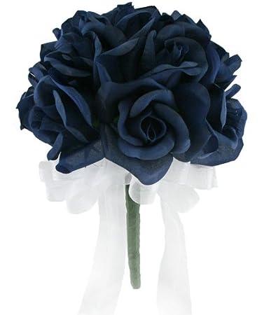 Amazon Navy Silk Rose Toss Bouquet 12 Roses Silk Flower