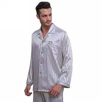 Mens Silk Satin Pajamas Set Sleepwear Loungewear Gray S