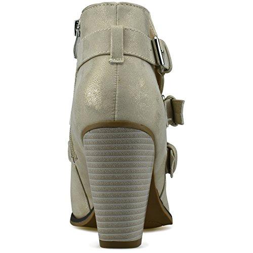 Standard Women's Strap Premier Heel Booties Block Champagne Ankle Buckle Premier fqdHf