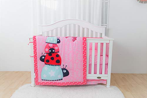 (Linens and More Modern Luxury Quality 4-Piece Ladybug Design Baby Girl Crib Bedding Set)