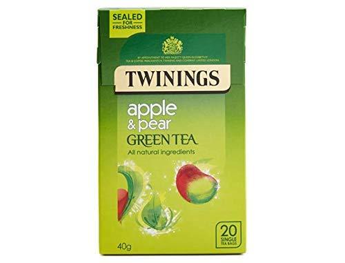 Twinings Green Tea Pear & Apple Flavour Tea Bags (20) - Pack of 2 (Best Green Tea Brand Uk)