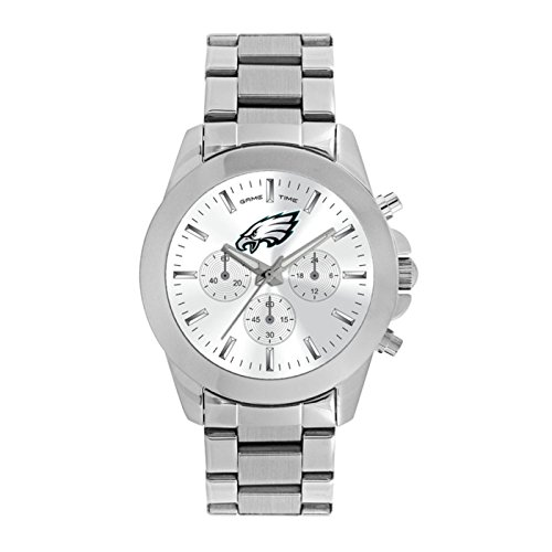 Game Time Women's 'Knock-Out' Quartz Stainless Steel Quartz Analog Watch, Color:Silver-Toned (Model: NFL-TBY-PHI)
