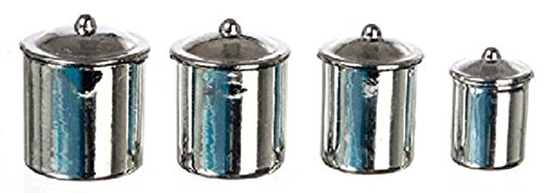 Dollhouse Miniature 4 Piece Kitchen Canister Set in Stainless Steel - Accessories Canister