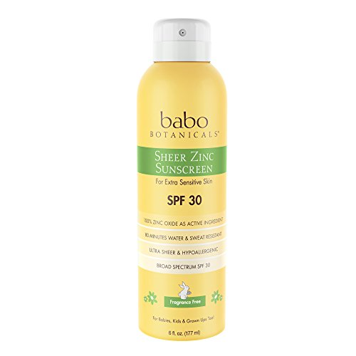 Babo Botanicals Sheer Zinc SPF 30 Natural Continuous Spray Fragrance Free Sunscreen for Sensitive Skin, -