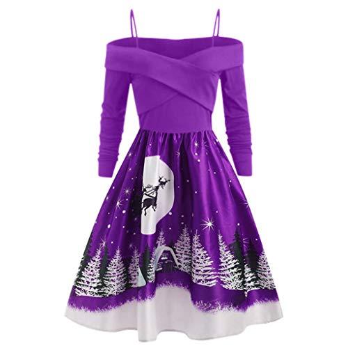 YESWOMAN Women Plus Size Christmas Day Sling Party Dress Casual Long Sleeve Print Dress Lady Fashion Knee-Long Maxi Skirt Purple