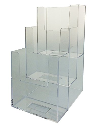 Marketing Holders 3-Tier Clear Acrylic Brochure Holder Literature Display for 4x9'' Pamphlets, 50 Pack by Marketing Holders