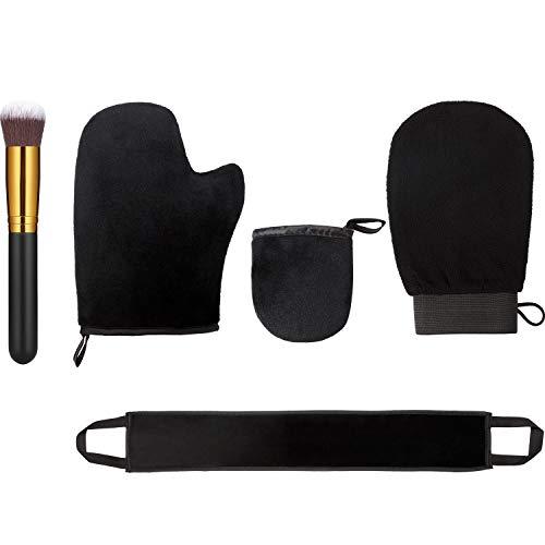 5 Pieces Self Tanning Mitt Applicator Kit, Includes Exfoliating Glove, Tanning Mitt, Mini Face Mitt, Back Lotion…