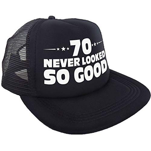 """70 Never Looked So Good"" Hat – Happy 70th Birthday Party Supplies, Ideas and Decorations - Funny -"