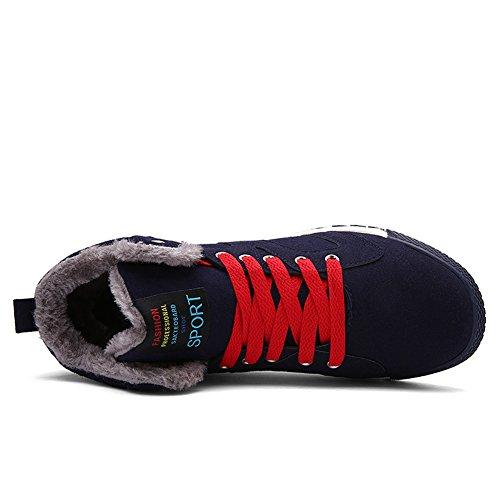 Moodeng Mens Stivali Da Neve Casual Foderato In Pelliccia Antiscivolo In Cotone Caldo Pizzo Scarpe Invernali Allaperto Blu