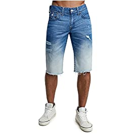 True Religion Men's Straight Leg Denim Cut-Off Shorts w/Flaps and Rips in Moving Indigo