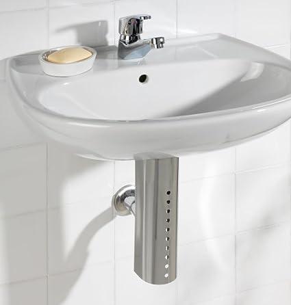 Wenko 17687100 - Embellecedor para sifón de lavabo (acero inoxidable, 7,4 x