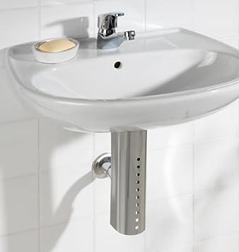 Wenko 17687100 - Embellecedor para sifón de lavabo (acero inoxidable, 7,4 x 27,1 x 7,7 cm): Amazon.es: Hogar