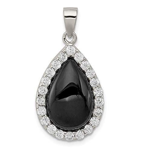 925 Sterling Silver Cubic Zirconia Cz Black Onyx Pendant Charm Necklace Fine Jewelry For Women Gift Set -