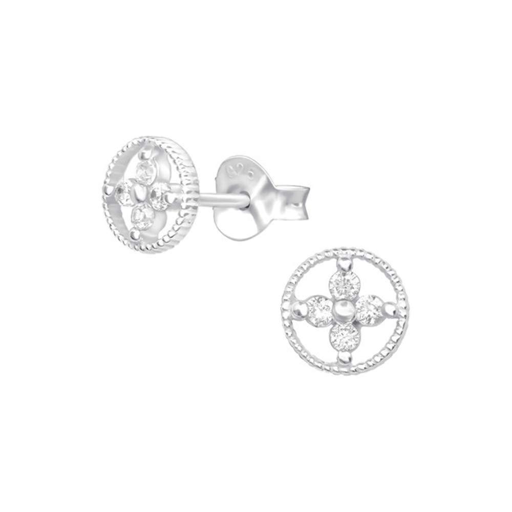 Flower Cubic Zirconia Ear Studs 925 Sterling Silver