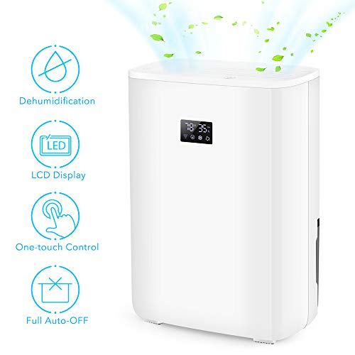 Air Choice Electric Dehumidifier – 5.3 Pint Dehumidifier with Photocatalyst Filter & Ionizer Purifies up to 2200 Cubic Ft. – LCD Display Portable Dehumidifier, Perfect for The Bedroom, RV, Office