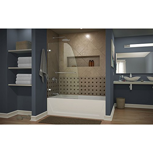 "DreamLine Aqua Uno 34 in. Width, Frameless Hinged Tub Door, 1/4"" Glass, Chrome Finish"