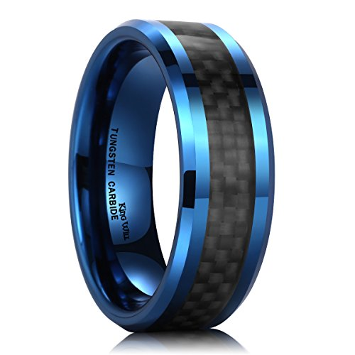 King Will GENTLEMENT Men's Tungsten Carbide Rings 8mm Blue Plated Black Carbon Fiber Inlay Wedding Band(10)