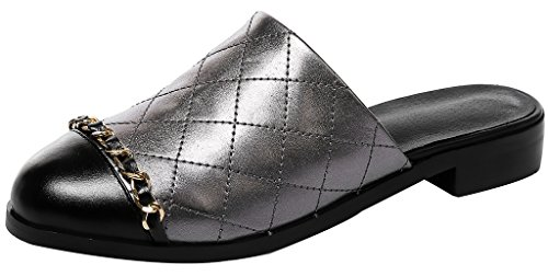 Calaier Mujer CaUnit2 Bloquear 2.5CM Cuero Ponerse Zuecos Zapatos Gris