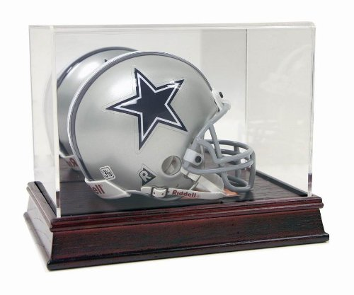 Deluxe Acrylic Mini Football Helmet Display Case with Cherry Wood Base