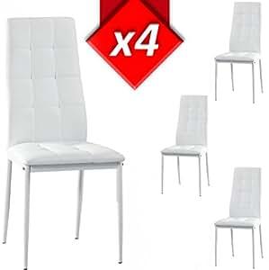Venta stock set silla 4 uds blanco hogar for Sillas comedor amazon