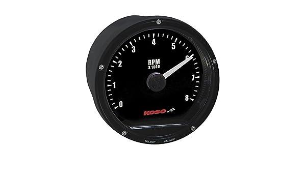 8 000 RPM Koso BA035113 Black TNT-01R Tachometer