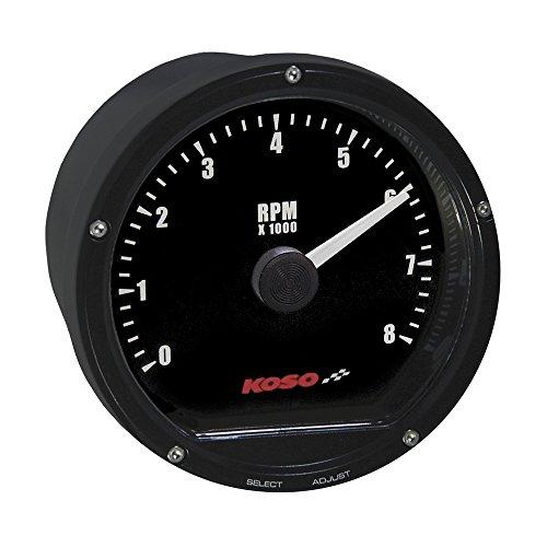 Koso BA035112 Black TNT-01R Tachometer (8 000 RPM)