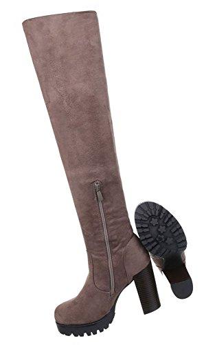 Damen Schuhe Stiefel Moderne Overknee Modell Nr.1 Hellbraun