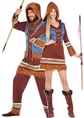 Eskimo Costume Male (Couples Ladies and Mens Eskimo Explorer Carnival Fancy Dress Costumes Outfits (US 2-4 & Mens M/L))