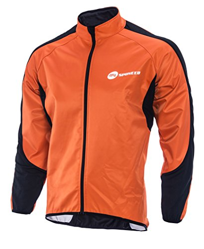 sponeed Mens Windproof Jackets Cycling Man Fleece Liner Jersey Bicycle Clothing Tops XXL Size Lava