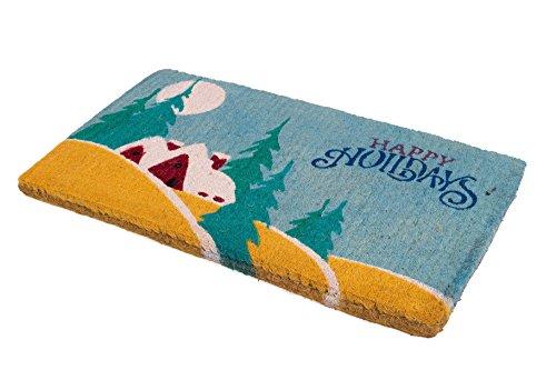 Handwoven, Extra Thick Doormat |  Entryway Door mat For Patio, Front Door | Decorative All-Season | Festive Happy Holidays | 18