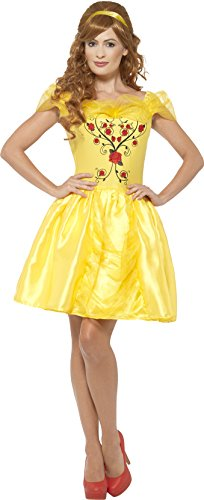 Smiffy's Women's Enchanting Beauty Princess Costume, Embroidered Dress and Hair Ribbon, Wings and Wishes, Serious Fun, Size 10-12, (Adult Princess Fancy Dress)