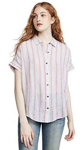 (Splendid Women's Canyon Button Up, Pink Glow Multi, Medium)