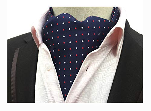 (Men's Navy Blue Cravat Jacquard Woven Self Tie Repp Soft Ascot Red White Polka Dot)