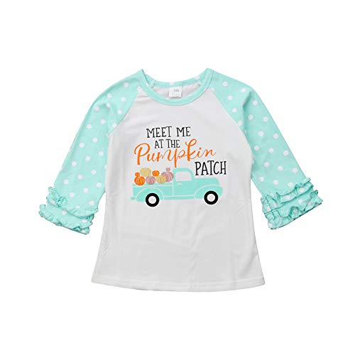 Baby Girls Halloween Long Sleeve Pumpkin Printed Ruffles T-Shirt Tops Clothes Outfits (6-12 M, Blue)]()