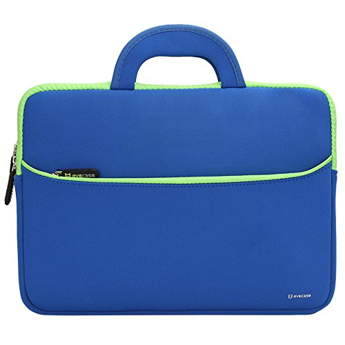 Evecase Portable Neoprene Carrying Case Bag w/ Handles and Extra Zipper Pocket for ASUS Zenbook 13.3-Inch Laptop - Blue