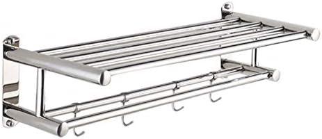 タオル掛けタオルスタンド ホックタオル棒が付いている浴室のステンレス鋼のタオル掛けの壁に取り付けられた二重層 (Size : 60cm)