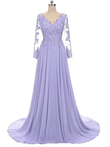 NOVIA Women's V Neck Long Sequined Prom Celebrity Dresses Long Sleeves Maxi Wedding Formal Party Gowns Lavender -