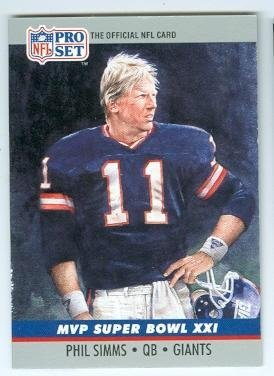 Phil Simms Football Card (New York Giants QB) 1990 Pro Set #21 Super Bowl - Super Mvp 21 Bowl