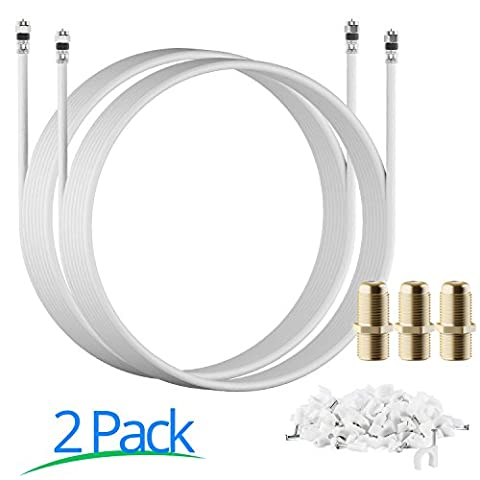 RG-6 | 25 Ft | White | 2 Pack | UL CL2 Certified Cable Quad Shielded Coaxial Cable For Satellite TV & High Speed Internet + Digital Video Cables. - Ultra Rg6 Coaxial Cable