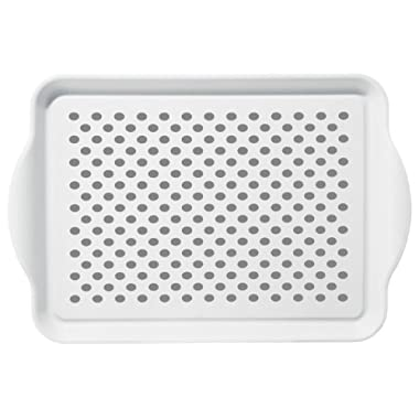 Oggi 5504.1 Rectangle Non Skid Rubber Grip Serving Tray, White