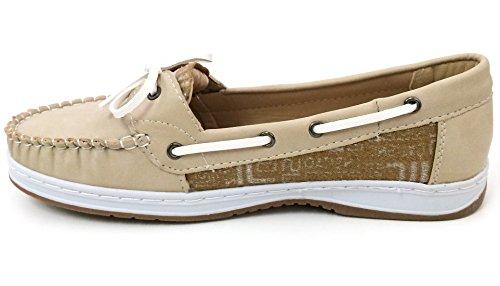 J-bebe Scarpe Da Barca Da Donna Mocassini Oxfords Deck Moc Sneaker Casual Nero, Marrone, Grigio, Cammello, Beige Beige