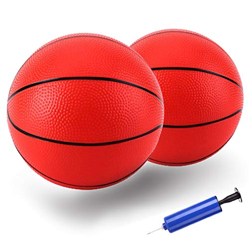 TNELTUEB Pool Basketball Replacement 8.5 Inch Mini Pool Basketballs Ball Hoop Indoor Outdoor Toy , Fits All Standard Swimming Pool Basketball Hoop Pool Game Toy Water Games( 2 Balls 1 Premium Pump)