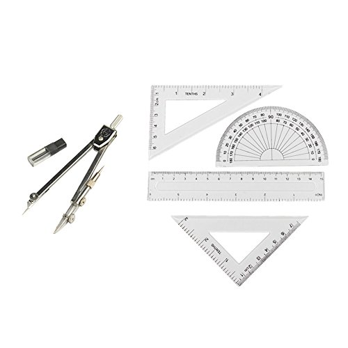 Grekywin Stainless Steel Drawing Compass and 4 Pieces Ruler Set Geometry Set Math Geometry Tools, Total 5 Pieces (Technical Compass Drawing)