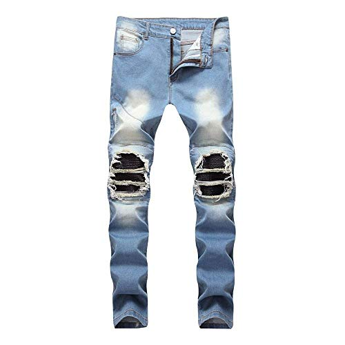 Rise Hole Pantaloni Lunghi Slim Casual Denim Mid Fashion Da Blu Uomo Jeans Pants Fit Stretch 7xwXRpnq