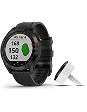 Garmin Approach S40 Bundle, Stylish GPS Golf Smartwatch, Includes Three CT10 Club Trackers, Black, Black Stainless with Black Band Bundle (010-02140-03)
