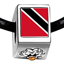 GiftJewelryShop Silver Plated Trinidad and Tobago flag Photo Topaz Crystal November Birthstone Flower Charm Beads European Bracelets Compatible