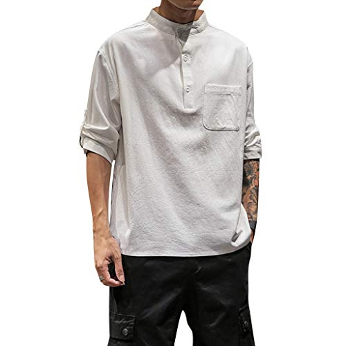 JJLIKER Mens 3/4 Sleeve Henley Shirt Loose Fit Tops Classic Solid Casual Summer Beach T Shirt Tops White